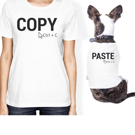 Copy And Paste Small Pet Owner Matching Gift Outfits White T-Shirt