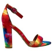 Frenzy-45S Ankle Strap Open Toe Block Low Heel Sandal Multi Color Fuchsia