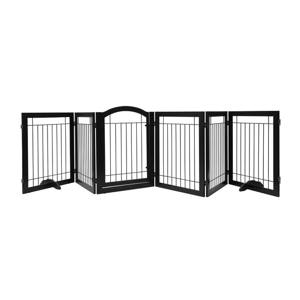 6 Panel 30 Inches Dog Gate, Outdoor Pet Gate With Door