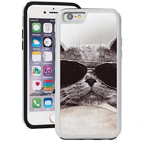 For Apple iPhone SE Shockproof Impact Hard Soft Case Cover Gray British Cat In Sunglasses (White)