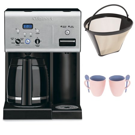 Cuisinart CHW-12 12-cup Programmable Coffee Maker w/ Gold Tone Basket Coffee Filter and Knox 16oz. Mug With Spoon (2 Pack)