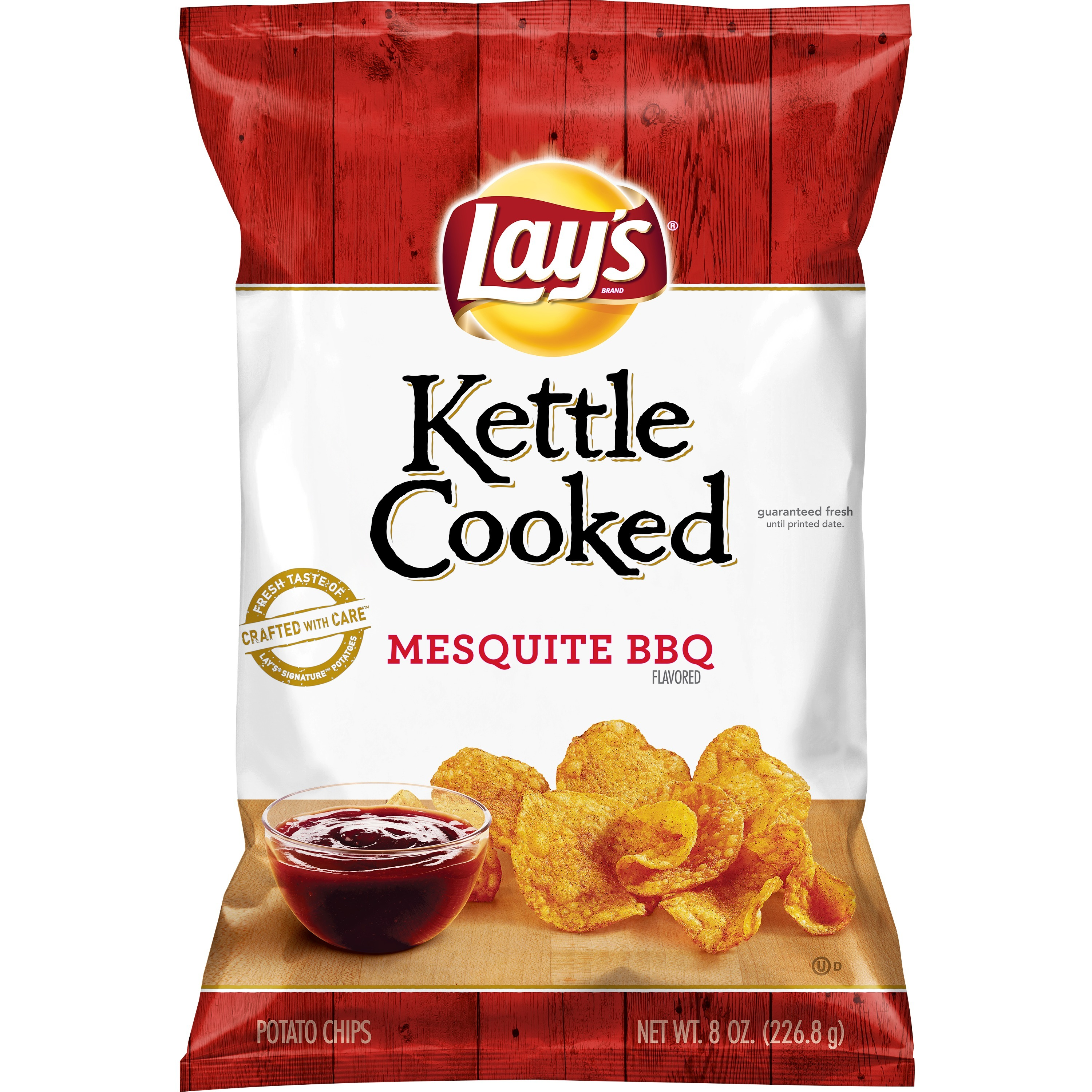 (3 Pack) Lay's Kettle Cooked Potato Chips, Mesquite Barbecue, 8 oz Bag