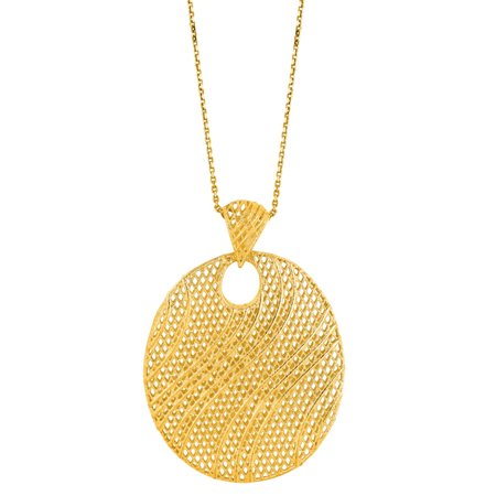 14 Karat Yellow Gold 25x25mm Mesh Necklace, 18 Inches