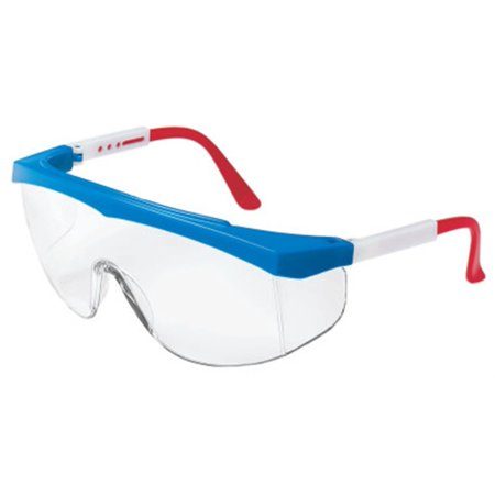 Stratos Safety Glasses, SS130, Red/White/Blue Frame, Clear Lens, Lot of 1