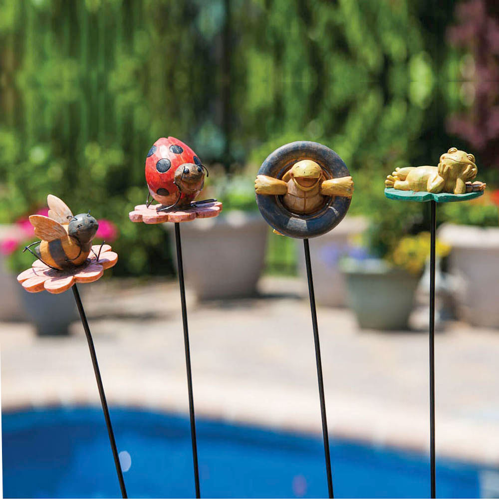 Happy Critters Summer Time Garden Stake Statues