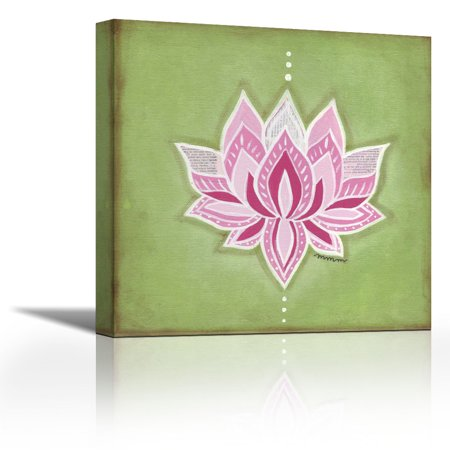 Lotus Flower Contemporary Fine Art Giclee On Canvas Gallery Wrap Wall Décor Art Painting 24 X 24 Inch Ready To Hang