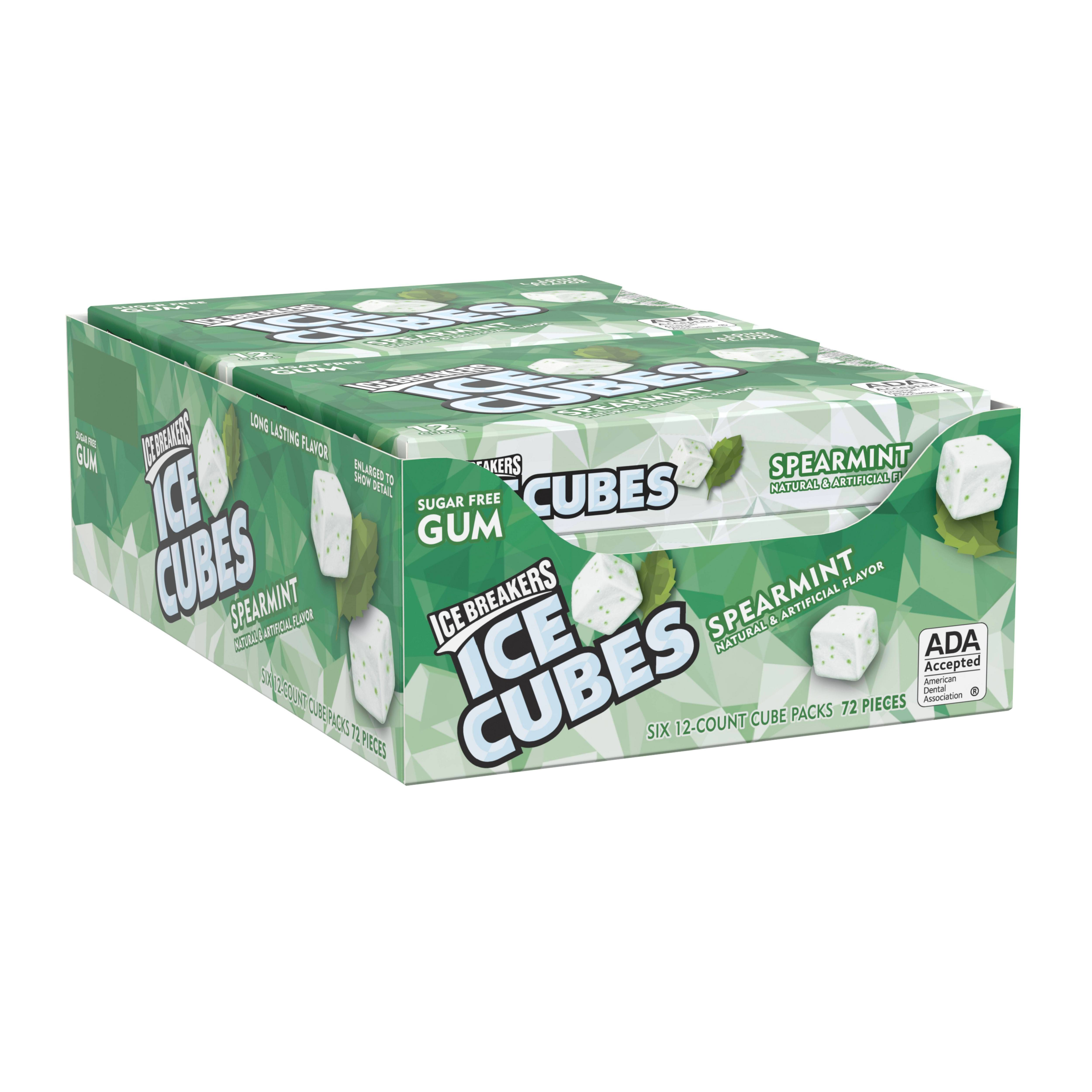 Ice Breakers, Ice Cubes Spearmint Gum, 12 Piece (Pack of 6)