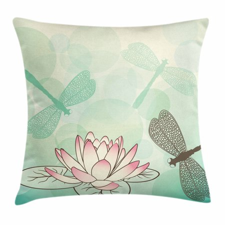 - Lotus Flower Throw Pillow Cushion Cover, Exotic Blossom with Pinkish Petals Water Lily and Dragonflies on Pale Green, Decorative Square Accent Pillow Case, 18 X 18 Inches, Multicolor, by Ambesonne