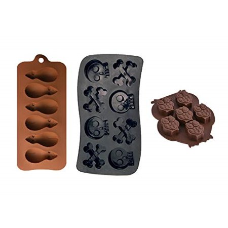PopBlossom 3 Pack Combo Silicone Molds Trays, Owl, Rate and Skull with Crossbones Homemade Halloween Treats, Baking Chocolate Ca](Homemade Halloween Bookmarks)