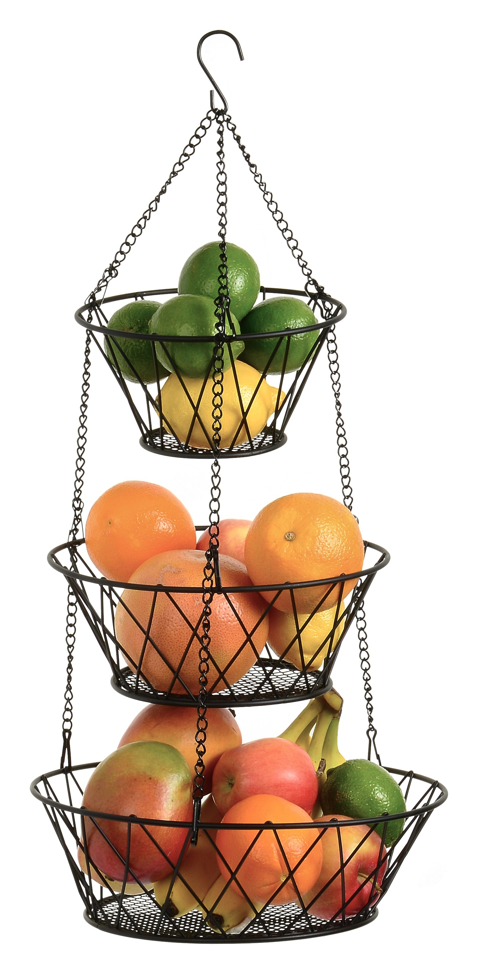 Heavy Duty 3 Tier Hanging Kitchen Black Fruit Basket