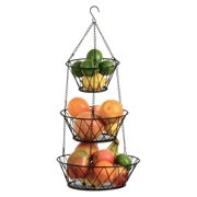 Heavy Duty 3 Tier Metal Hanging Kitchen Black Fruit Basket