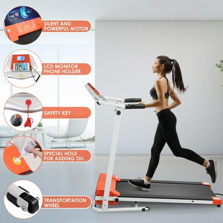 Motorized Treadmill 1.5HP 12 Built-in Programs Folding Treadmill 1-10 km/h Speed Adjustable for Home Gym
