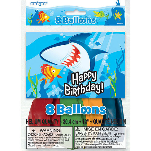 Ocean Shark Latex Balloons, 8pk