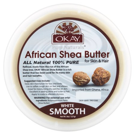 Okay Pure Naturals White Smooth African Shea Butter, 8 oz