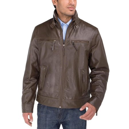 Luciano Natazzi Men's Trim Fit Quality Cow PDM Heritage Look Leather Moto Jacket