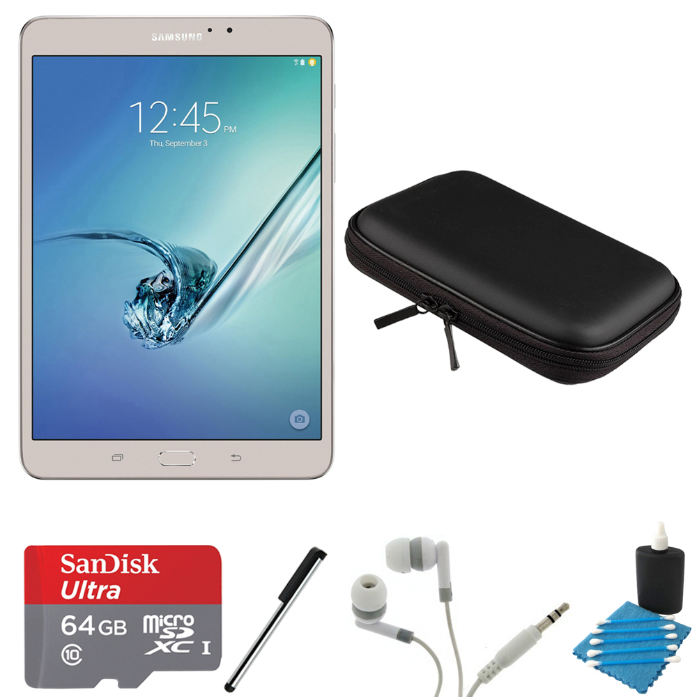 "Samsung Galaxy Tab S2 8.0"" Wi-Fi Tablet (Gold/32GB) 64GB MicroSD Card Bundle includes Tablet, 64GB MicroSDXC Memory Card, Stylus, Clip, Noise Isolation Headphones, 8-Inch Hard EVA Case & Cleaning Kit"