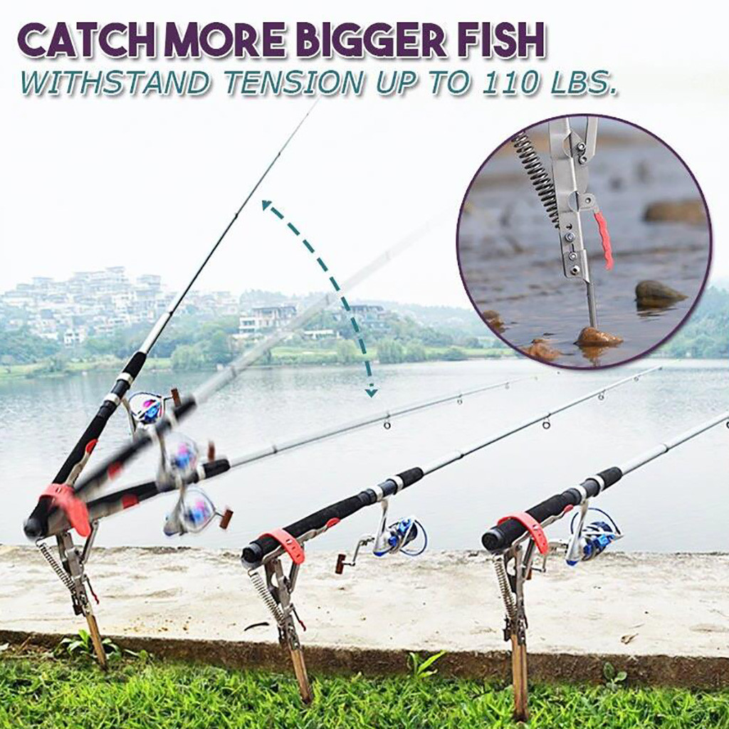 NEW Stainless steel Fishing Rod Holder with Automatic Tip-Up Hook Setter Spring