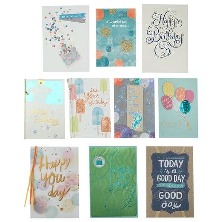 10 Assortment - Hallmark Birthday Greeting Cards Assortment (10 Cards, 10 Envelopes)