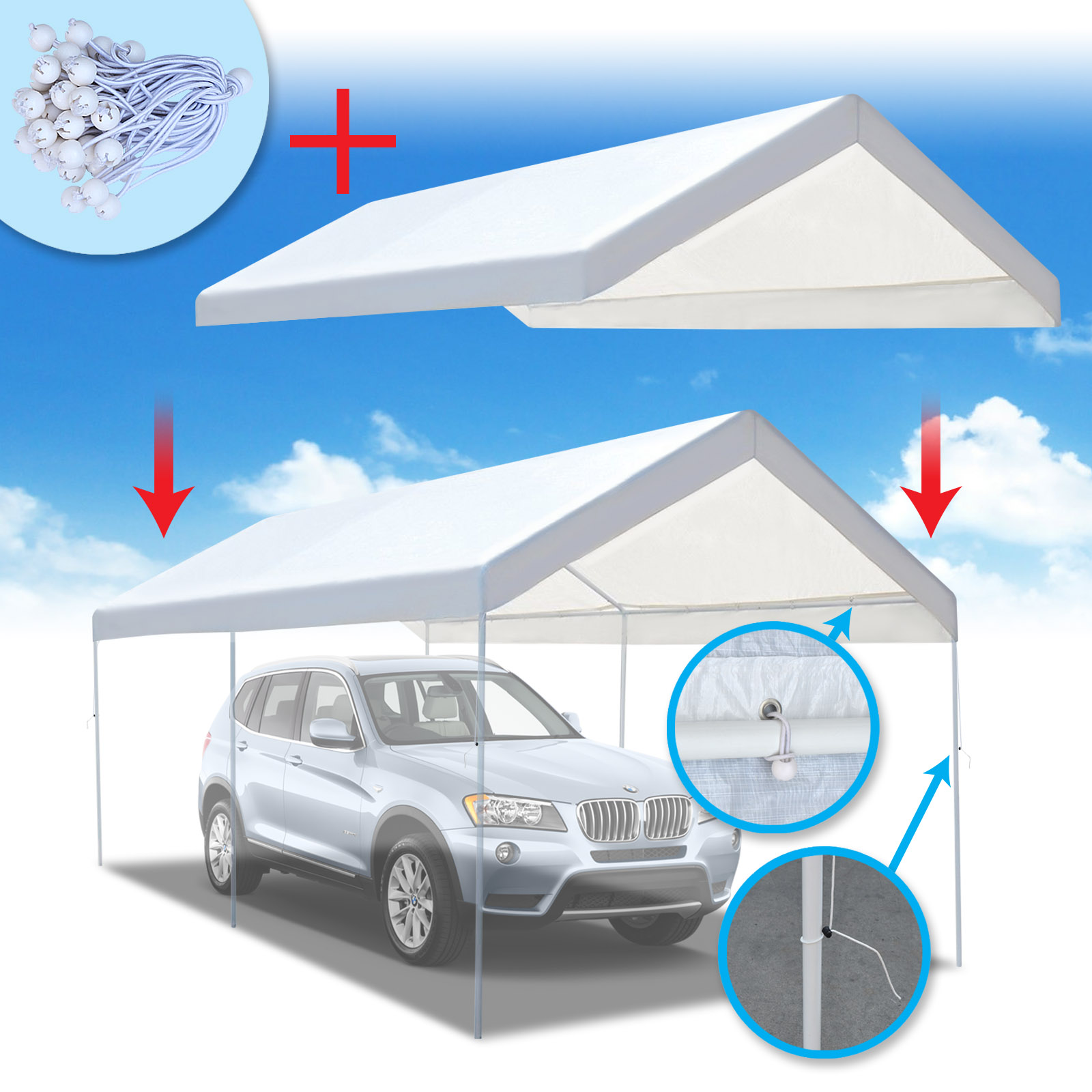 Strong Camel New 10'x20' Carport Replacement Canopy Cover for Tent Top Garage Shelter Cover w Ball Bungees (Only cover,... by Sunny Outdoor Inc