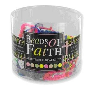 Bracelet-Beads of Faith Sideways Cross Assortment-Adjustable (Pack of 36)