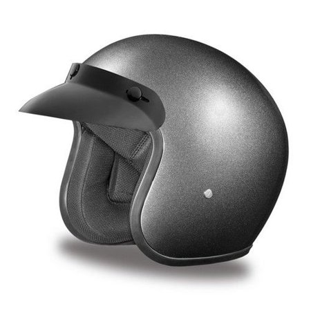 d7b98b1f600 D.O.T. Daytona Slim Line Skull Cap 1 2 Shell Helmet In The Gun Metal Grey  Metallic Finish - Walmart.com