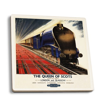 England - Queen of Scots Pullman Train British Railways - Vintage Travel Poster (Set of 4 Ceramic Coasters - Cork-backed, Absorbent)