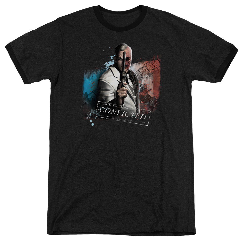 Arkham City Two Face Mens Adult Heather Ringer Shirt