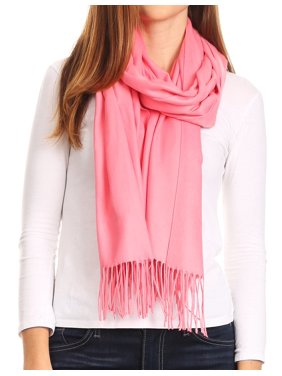 Sakkas Iris Warm Super Soft Cashmere Feel Pashmina Shawl / Scarf with Fringes - Coral - One Size Regular