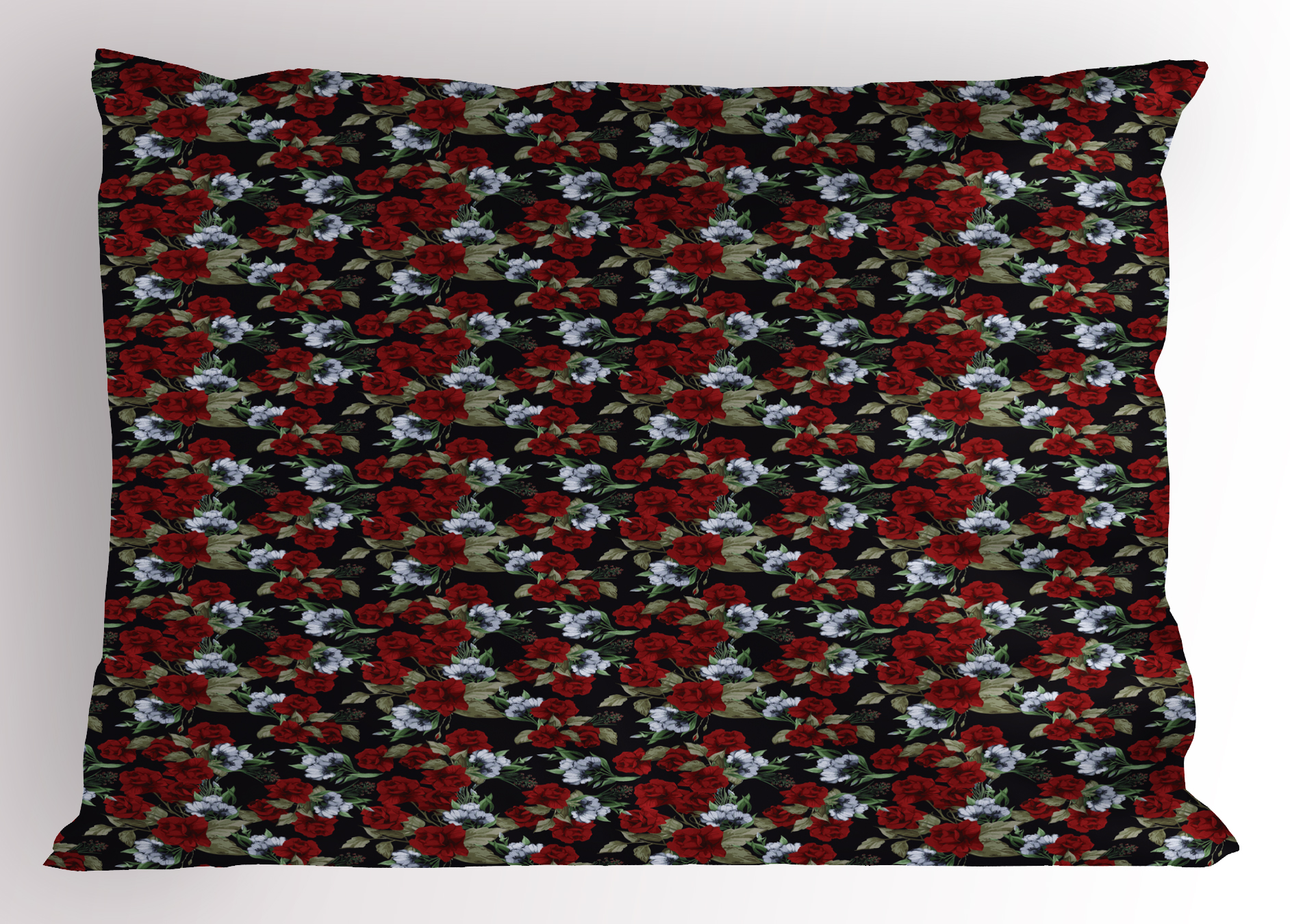Red And Black Pillow Sham Floral Pattern With Romantic