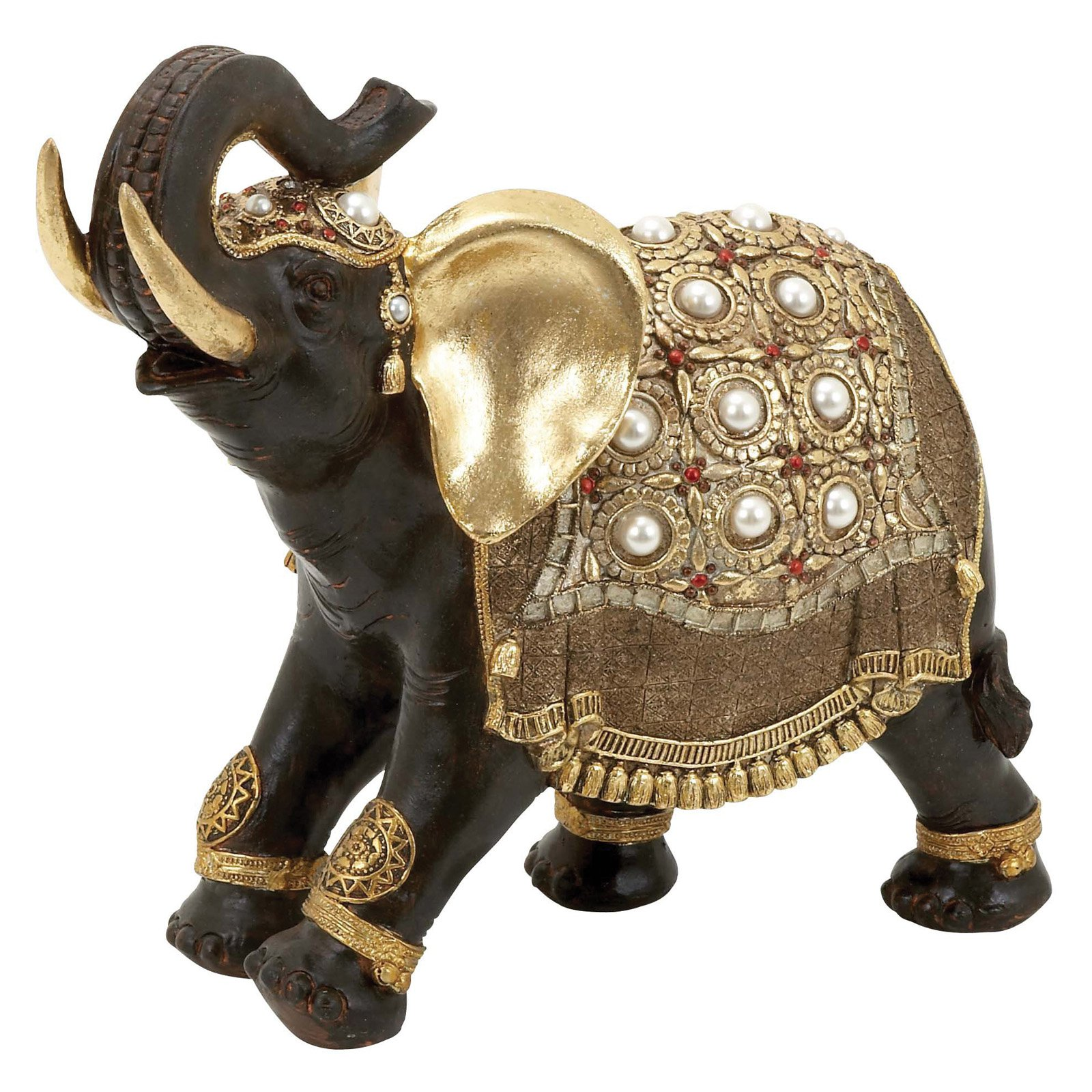 Majestic Small Asian Elephant Statue Ornate Blankets Accent Decor 69477