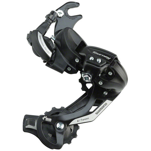 Shimano Tourney RD-TY500-SGS Rear Derailleur - 6,7 Speed, Long Cage, Black, Dropout Claw Hanger