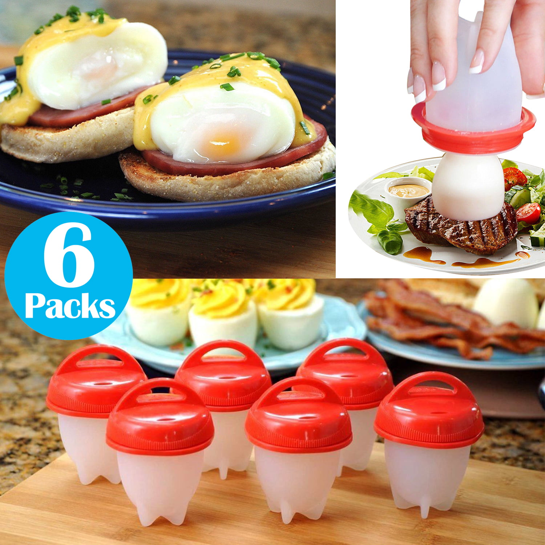Silicone Egg Boiler Set Rings Eggletters Cooker Kitchen Tool 6 Pcs Hard Boiled