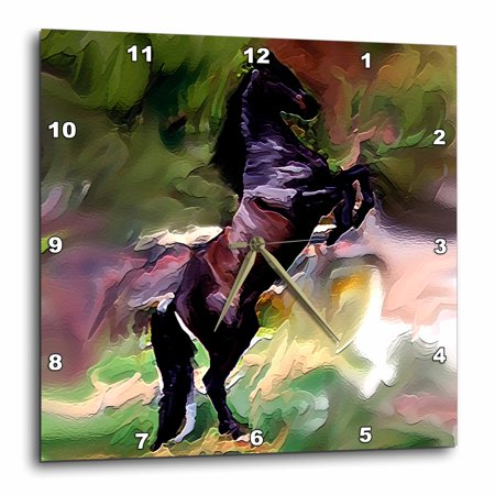 3dRose Black Horse - Wall Clock, 10 by 10-inch