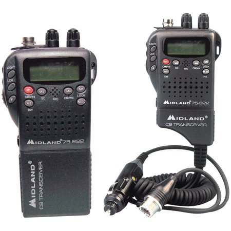 Handheld Radio Pouch - Midland 75-822 Handheld 40-Channel CB Radio with Weather/All-Hazard Monitor & Mobile Adapter
