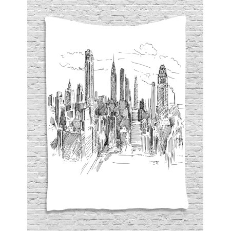 New York Tapestry, Hand Drawn NYC Cityscape Tourism Travel Industrial Center Town Modern City Design, Wall Hanging for Bedroom Living Room Dorm Decor, 40W X 60L Inches, Grey White, by Ambesonne