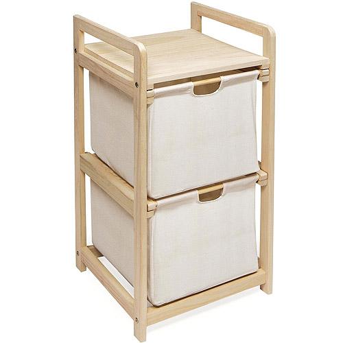 Natural Unfinished Two Drawer Hamper Storage Unit by Badger Basket Company