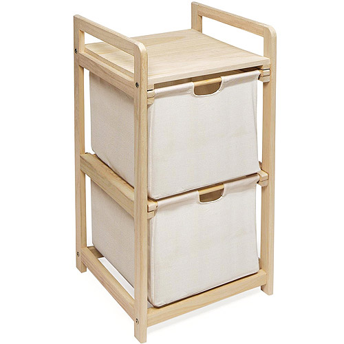 Natural/Unfinished Two Drawer Hamper/Storage Unit