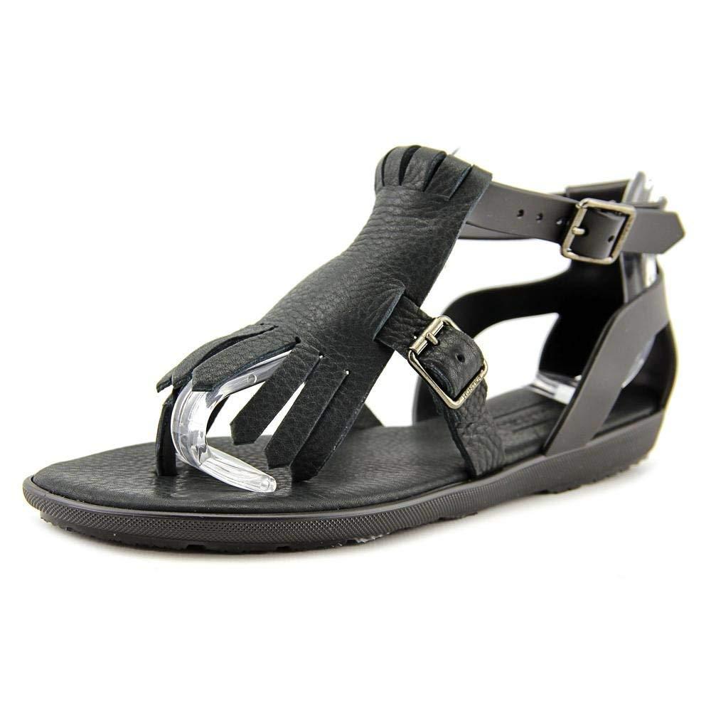 Hunter Womens original fringe t bar Open Toe Casual Ankle Strap, Black, Size 9.0