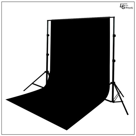 Pure Black 6' x 9' Muslin Backdrop with Aluminum Alloy Backdrop Support Stand System for Video and Photo by Loadstone Studio WMLS0774
