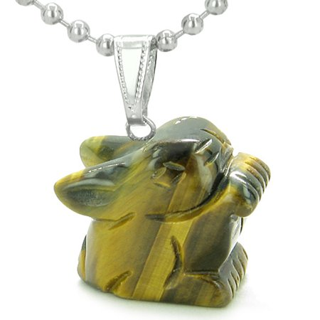 Amulet Lucky Charm Rabbit Totem in Tiger Eye Gemstone Powers Pendant 18 Inch