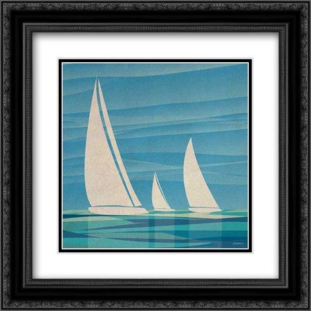 Journey Framed - Water Journey I 2x Matted 20x20 Black Ornate Framed Art Print by Meneely, Dan