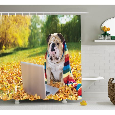 English Bulldog Shower Curtain Dog In The Park With A Laptop And Rainbow Colored Scarf