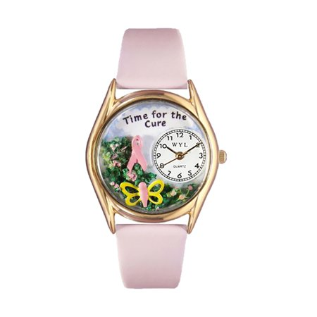 Whimsical Watches Womens C1110002 Classic Gold Time For The Cure Pink Leather And Goldtone Watch