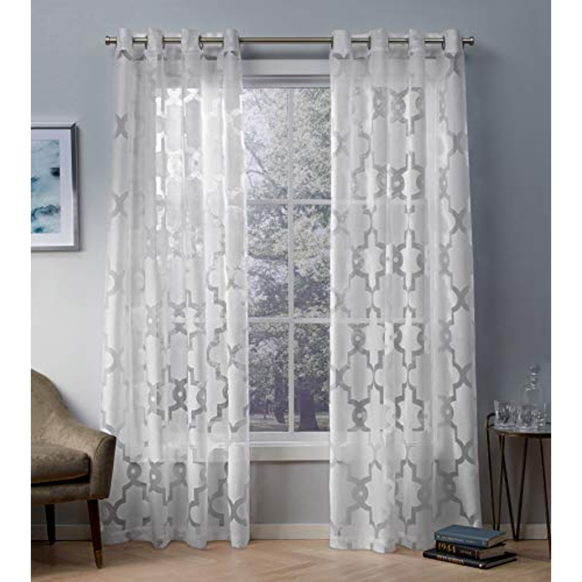 Exclusive Home Curtains Essex Geometric Sheer Burnout Window Curtain Panel Pair With Grommet Top 52x96 Winter White 2 Piece Walmart Canada
