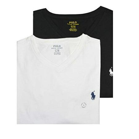 Polo Ralph Lauren Men Assorted 2 Pack V-Neck T-shirt (L, White/Black)