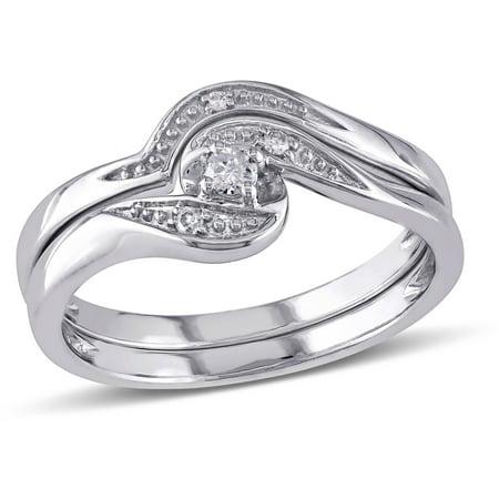 Miabella Diamond-Accent 10kt White Gold Bypass Bridal Set