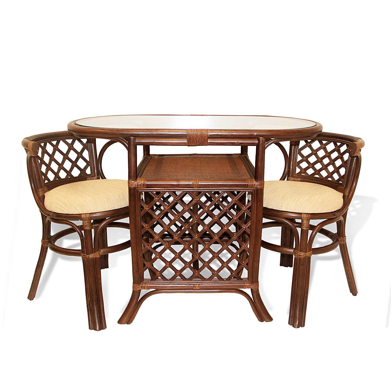 Sk New Interiors Dining Furniture Borneo Set Of 2 Natural Rattan Chairs W Cream Cushion And Oval Table W Glass Dark Brown Walmart Com Walmart Com
