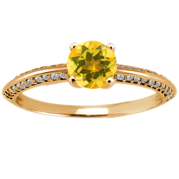 1.03 Ct Round Yellow Citrine 18K Yellow Gold Ring