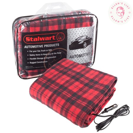 Electric Car Blanket Heated 12 Volt Fleece Travel Throw For And Rv Great Cold Weather Tailgating Emergency Kits By Stalwart Red Black