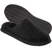 Dearfoams Men's Gen Suede Coverstitch CTS Slipper, Black, 12 Regular US